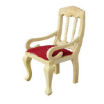 CHAISE TISSUS ROUGE LUXE BOIS NATUREL