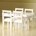 ENSEMBLE TABLE BLANCHE + 4 CHAISES