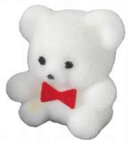 PETIT OURS BLANC NOEUD ROUGE