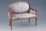 SOFA LOUIS XVI NOYER RAYE BLEU ET OR