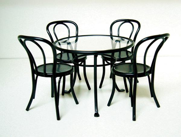 TABLE BISTROT METAL NOIR AVEC 4 CHAISES