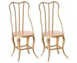2 chaises vintage dorées