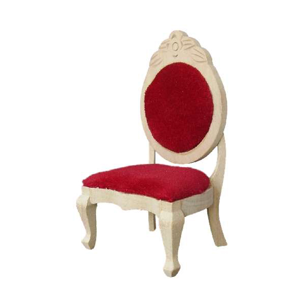 CHAISE BOIS BRUT TISSUS ROUGE
