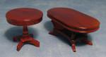 Ensemble table ronde et ovale en merisier