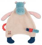 Doudou Plat  Attache-tétine Hippopotame «Les Papoum»