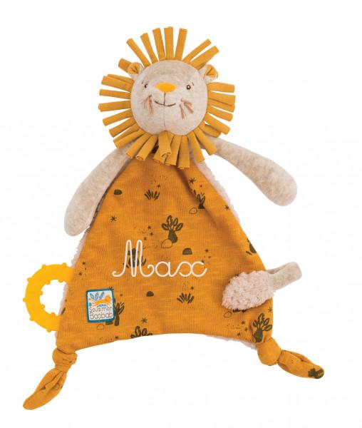 Doudou attache-tétine lion/éléphant/girafe «Sous mon baobab»